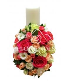 Lumanari de nunta cu trandafiri ciclam