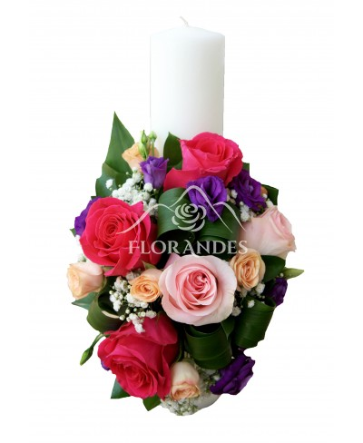 Lumanari de nunta cu trandafiri roz