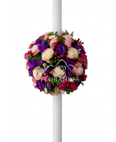 Lumanari de nunta cu trandafiri si lisianthus