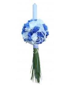 Lumanari nunta cu hortensie albastra