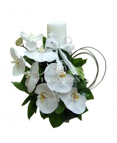 Lumanari nunta cu orhidee alba