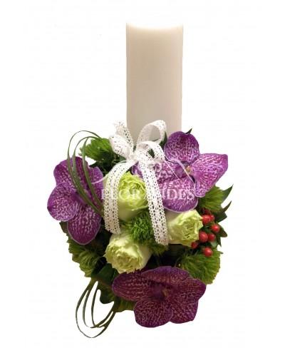 Lumanari nunta cu orhidee mov