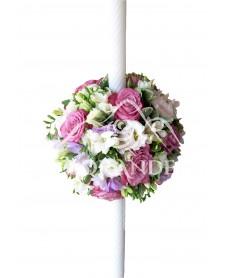 Lumanari nunta cu trandafiri mov
