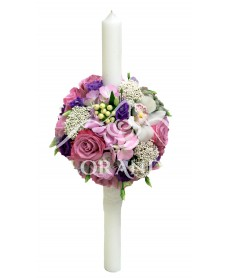 Lumanari nunta cu trandafiri si orhidee