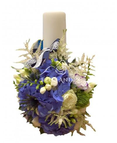 Lumanari nunta hortensie si frezii