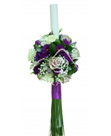 Lumanari nunta lisianthus mov si trandafiri