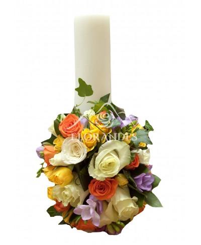 Lumanari nunta minitrandafiri