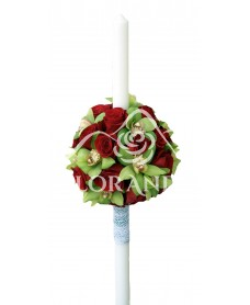 Lumanari nunta trandafiri rosii si orhidee