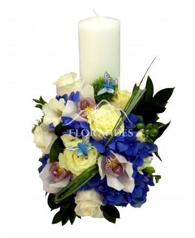 Lumanari nunta trandafiri si hortensie
