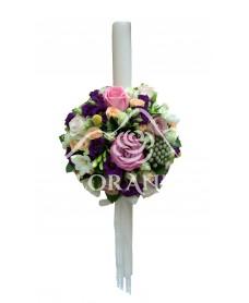 Lumanari nunta cu trandafiri si lisianthus