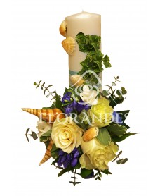 Lumanari nunta trandafiri si scoici