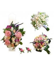 Pachet nunta cu trandafiri si frezii