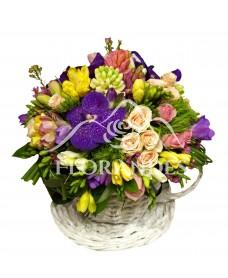 Aranjament floral cu frezii si zambile