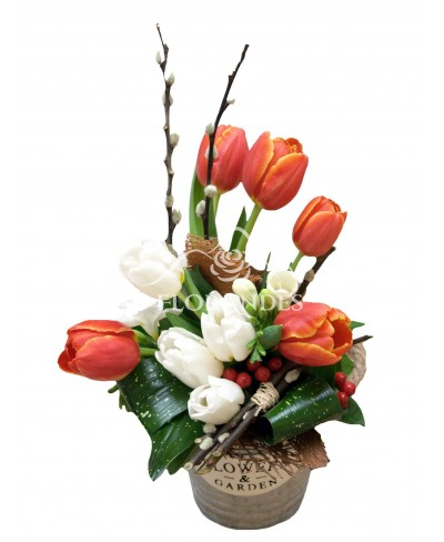 Aranjament floral lalele albe