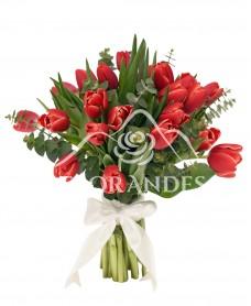 Buchet de 25 lalele rosii