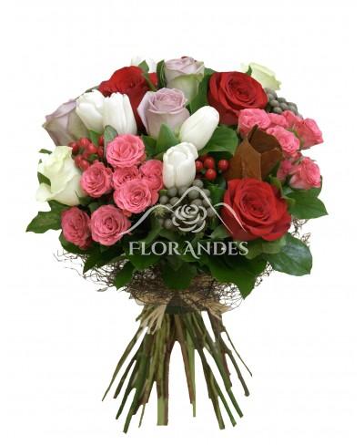 Buchet lalele si trandafiri