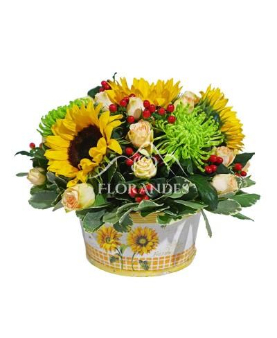 Aranjament floral crizantema verde