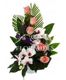 Aranjament floral cu orhidee phalaenopsis