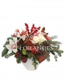 Aranjament floral orhidee si trandafiri albi