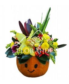 Aranjament floral cu orhidee si santini