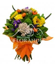 Buchet cu floarea soarelui si iris