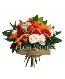 Buchet cu trandafiri si crizantema
