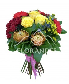 Buchet trandafiri galbeni si crizanteme