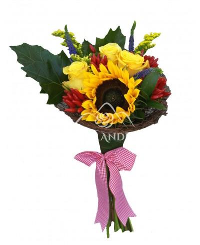 Buchet trandafiri galbeni si floarea soarelui