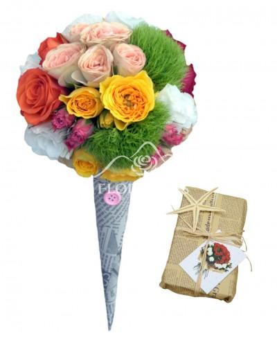Aranjament floral inghetata cu garofite