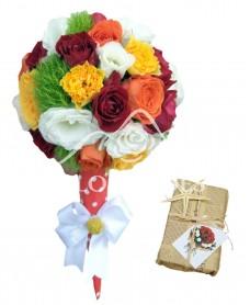 Aranjament floral inghetata cu minitrandafiri