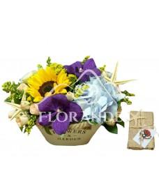 Aranjament floral orhidee si hortensie