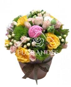 Aranjament floral cu garofite verzi