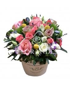 Aranjament floral trandafiri roz