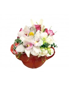 Ceainic trandafiri mov si orhidee