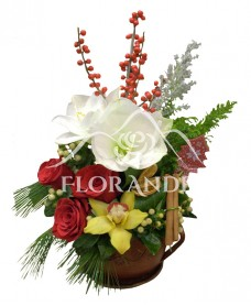 Aranjament floral amaryllis alb