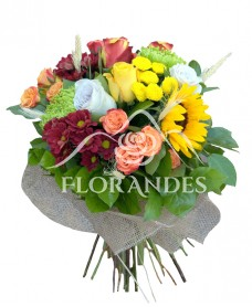 Buchet minitrandafiri si crizanteme