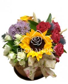Aranjament floarea soarelui si minitrandafiri