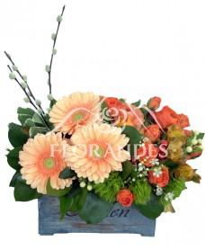 Aranjament floral gerbera si alstroemeria