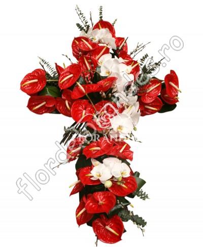 Aranjament funerar din orhidee si anthurium