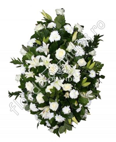 Aranjament funerar din trandafiri albi si crini