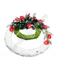 Coroana din crizantema si anthurium