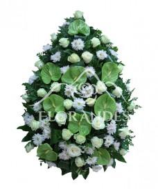 Coroana trandafiri albi si anthurium