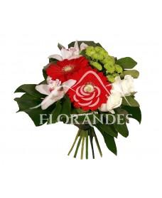 Buchet de trandafiri si orhidee