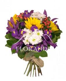 Buchet iris si floarea soarelui