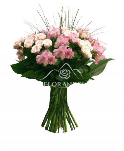 Buchet minitrandafiri roz