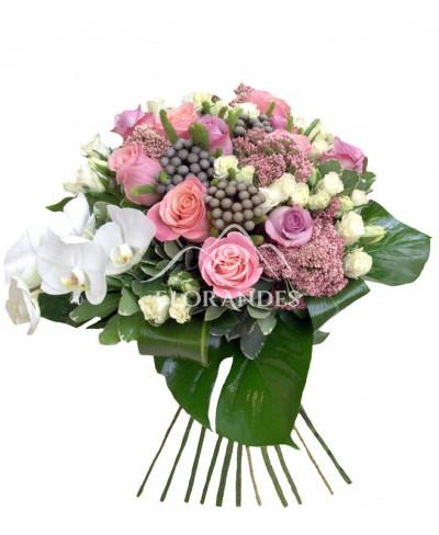 Buchet trandafiri si orhidee alba