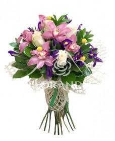 Buchet trandafiri si orhidee roz