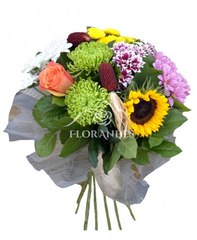 Buchet floarea soarelui si crizantema