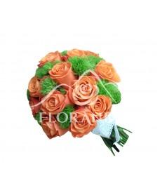 Buchet mireasa trandafiri si garofite verzi