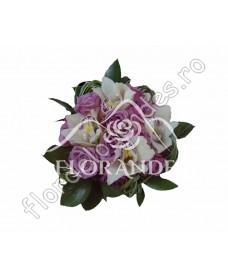 Buchet de mireasa din trandafiri si orhidee